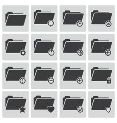 black folder icons set vector image