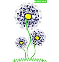 3 dandelions vector image vector image