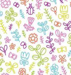 Summer flowers butterflies and beetles colorful vector image