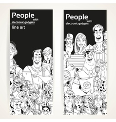 People with electronic gadgets line art on two vector image