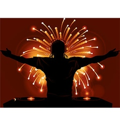 Dj record decks and fireworks background vector