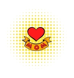 Mothers day heart with ribbon icon comics style vector