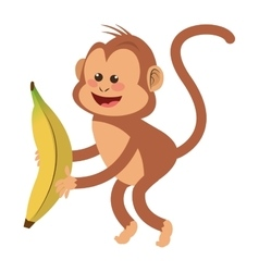 smiling monkey with banana cartoon icon vector image