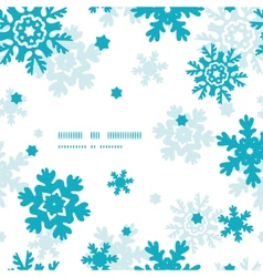 Blue frost snowflakes frame seamless pattern vector