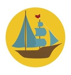 boat wood marine icon vector image vector image
