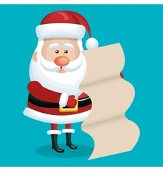Card santa with list gift blue bakcground vector