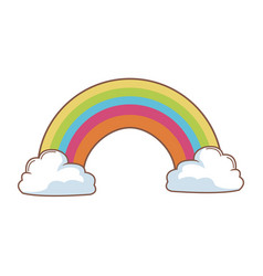 Cartoon beauty rainbow with clouds vector