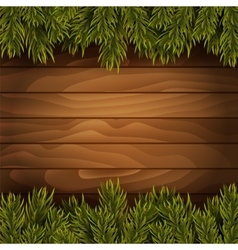 Christmas tree branches on wooden background vector