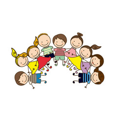 Colorful happy group cartoon children vector