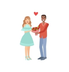 Couple in love man presenting bouquet vector