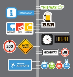 Different road signs on column vector