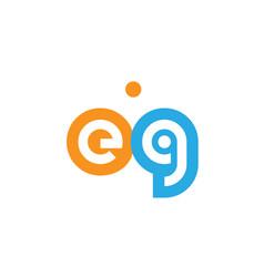 Eg e g orange blue alphabet letter logo vector