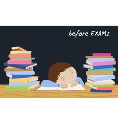 Exam student stress Schoolboy sleeping on books vector image vector image