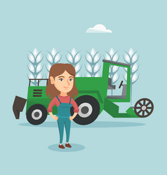 Farmer standing on the background of combine vector