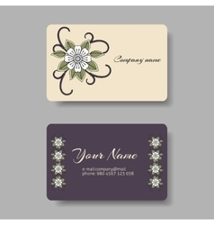 Floral business card collection vector image