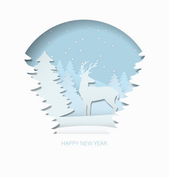 happy new year 3d abstract paper cut illlustration vector image