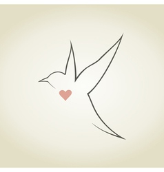 Heart a bird5 vector image