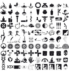 Icons black on white background vector image
