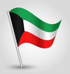 kuwaiti flag on pole vector image vector image