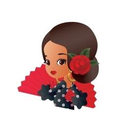 Latin Spanish Cute chibi cartoon girl vector image