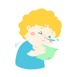 Little boy sneezing cartoon vector