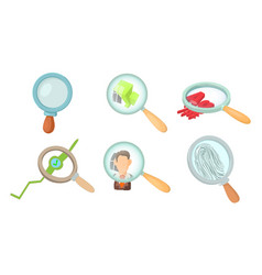 magnifying glass icon set cartoon style vector image