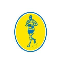 Marathon Runner Running Oval Retro vector image