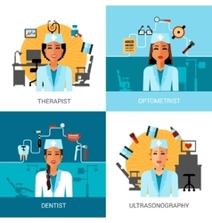 Medical workers concept set vector