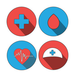 Medicine icon flat set world blood donor day vector