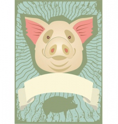 pig grunge vector image