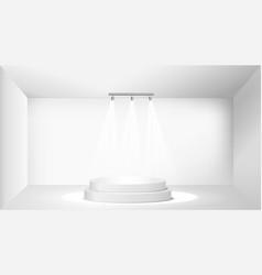 scene with spotlights three lamp illuminate the vector image