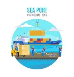 Sea port template vector