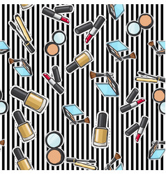 seamless pattern nail polish powder lipstick vector image