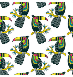 Seamless pattern of cute colorful toucan in boho vector