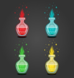 Set bottles with different potions-8 vector