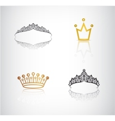 Set of crowns tiaras lace and simple vector