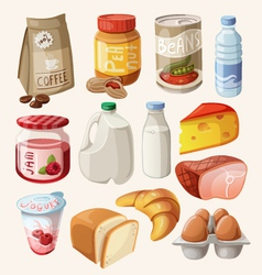 Set of food and products that we eat every day vector image