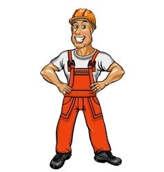 Smiling worker in an orange jumpsuit and helmet vector