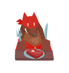 superhero dog character eating food with fork and vector image vector image