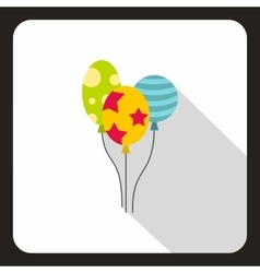 Three colorful baloons icon flat style vector