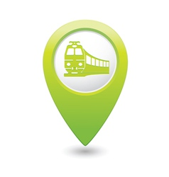 Train icon on map pointer green vector