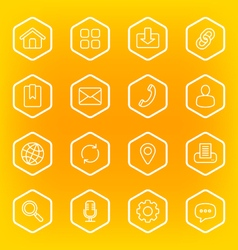 white line web icon set with hexagon frame vector image vector image