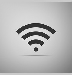 Wi-fi network symbol flat icon on grey background vector