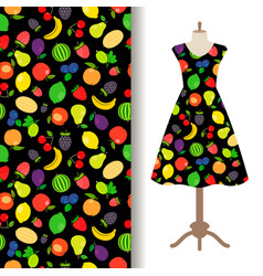 Women dress fabric with fruit pattern vector