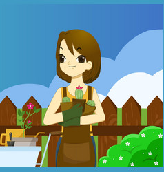 young adult woman holding succulents and ready to vector image vector image