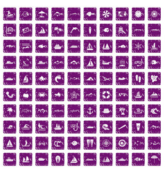 100 sea icons set grunge purple vector