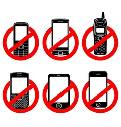 No phone sign set vector