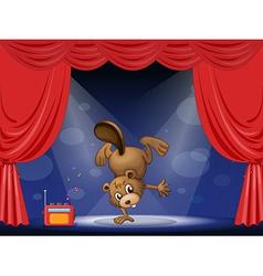 Cartoon performing beaver vector