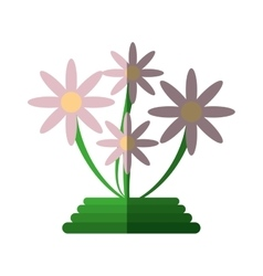 Green basket flowers decoration icon vector