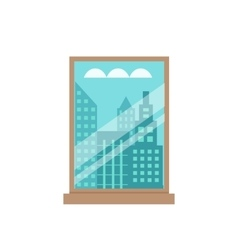Room window flat vector image